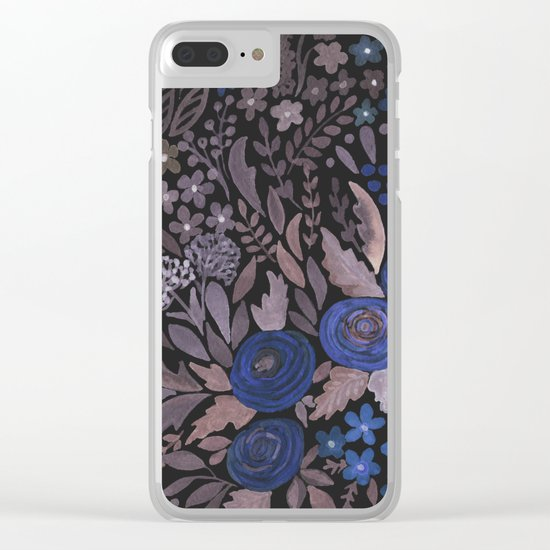 Watercolor blue flowers . The blue of the night . Clear iPhone Case