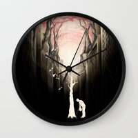 city Wall Clocks featuring Revenge of the nature II: growing red forest above the city. by Rafapasta