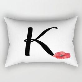 Monogram K - Red Poppy Rectangular Pillow