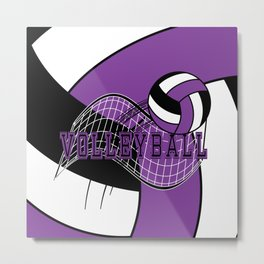 Volleyball Sport Game - Net - Purple Metal Print