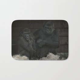 Gorilla Mother Has Her Cheeky Son By The Scruff Of His Neck Bath Mat
