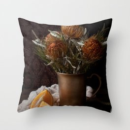 ORANGE - FLOWERS - IN - BROWN - VASE - BESIDE - SLICED - ORANGE - FRUIT - PHOTOGRAPHY Throw Pillow