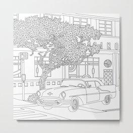 Miami Ocean Drive Line Art Metal Print