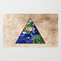 all seeing eye Area & Throw Rugs featuring All Seeing Eye by Spooky Dooky