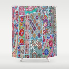 Vintage Shabby Quilt Shower Curtain