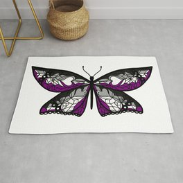 Fly With Pride: Asexual Flag Butterfly Rug