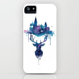Always - Magical Deer in a Wizard World in watercolor iPhone Case