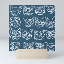 Blue and White Silly Kitty Faces Mini Art Print