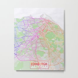 Edinburgh City Map of Scotland - Colorful Metal Print