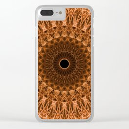 Brown and golden mandala Clear iPhone Case