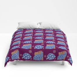 blue birds pattern on gold and purple Comforters