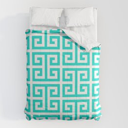 Tropical Turquoise and White Greek Key Pattern Comforters