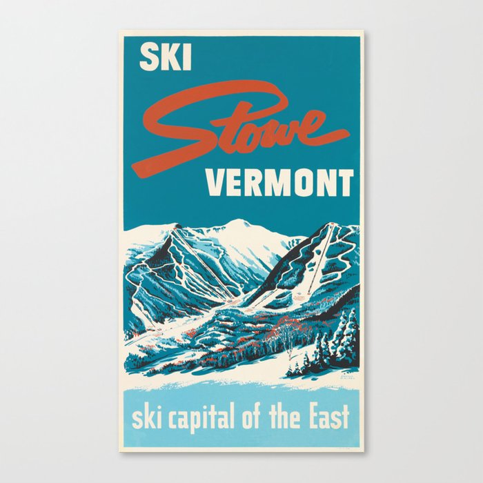 Stowe, Vermont Vintage Ski Poster Leinwanddruck