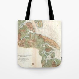 Vintage Map of Ipswich and Annisquam Harbor (1857) Tote Bag