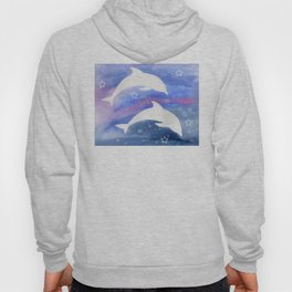 Dolphin Silhouette with watercolor background Hoody