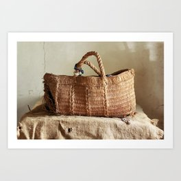 Old torn basket on canvas with holes and stains Art Print