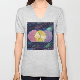 Perfect Hexagon Sacred Geometry Abstract Watercolor  Unisex V-Neck