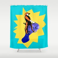 manatee Shower Curtains featuring Cowboy Manatee by Gallery Girl
