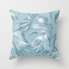 Island Dream Teal Palm Leaves Throw Pillow