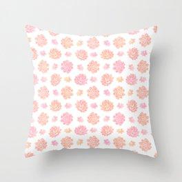 Blush pink coral modern summer cactus floral Throw Pillow