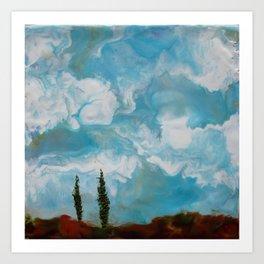 Cypress Trees encaustic wax painting by Seasons Kaz Sparks Art Print