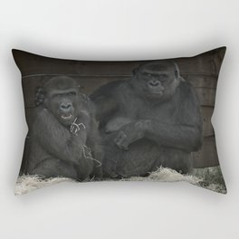 Gorilla Mother Has Her Cheeky Son By The Scruff Of His Neck Rectangular Pillow