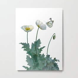 Spade's White Poppies Metal Print