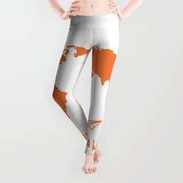 Adventure Map - Retro Orange on White Leggings