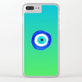 Single Evil Eye Amulet Talisman Ojo Nazar - ombre lime to tuquoise Clear iPhone Case