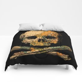 Treasure Map Skull Wanderlust Europe Comforters