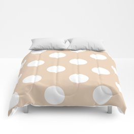 Large Polka Dots - White on Pastel Brown Comforters