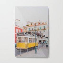 Yellow Tram in Lisbon Metal Print