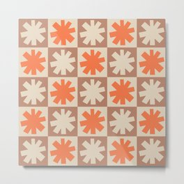 Mid Century Modern Check and Star Pattern 253 Beige and Orange Metal Print