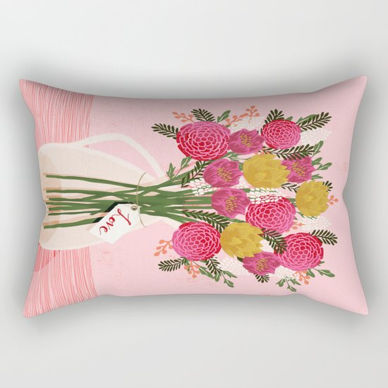 Valentines Day Bouquet floral vase flower by Andrea Lauren  Rectangular Pillow