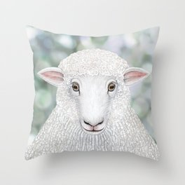 Corriedale sheep farm animal portrait Throw Pillow