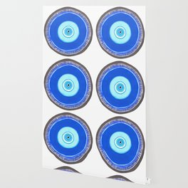 Blue and Silver Evil Eye Mandala Wallpaper