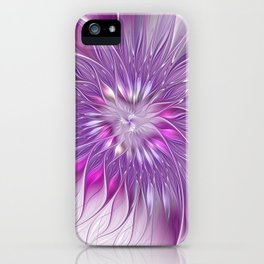 Pink Flower Passion, Abstract Fractal Art iPhone Case