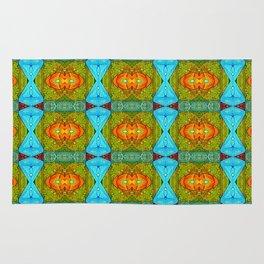 abstract, pattern, jacks, fun, orange, yellow, red, green, aqua, bunny clarke Rug