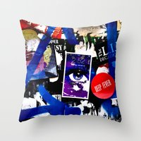 stickers Throw Pillows featuring Stickers by very giorgious