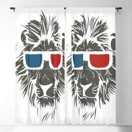 Lion with 3D sunglasses Blackout Curtain