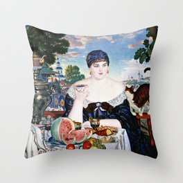 Boris Kustodiev - Merchants Wife At Tea Throw Pillow