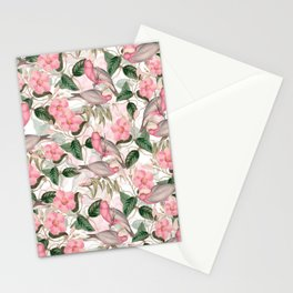 Vintage & Shabby Chic - Pink Tropical Birds And Flowers Stationery Cards
