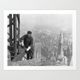 A construction worker on top of the Empire State Building in 1930, New York. Art Print