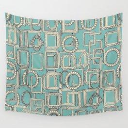 picture frames aplenty indigo duck egg blue Wall Tapestry