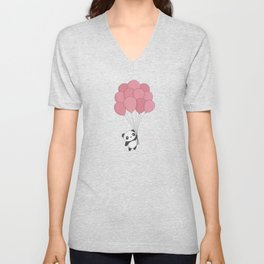 Kawaii Panda In The Sky Unisex V-Neck