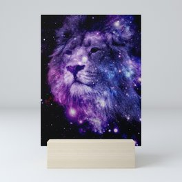 leo lion purple blue Mini Art Print