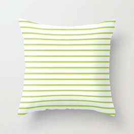 Horizontal Green Stripes Pattern Throw Pillow