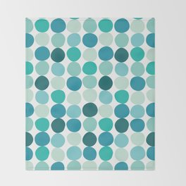 Midcentury Modern Dots Blue Throw Blanket