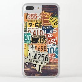 License Plate Map Of The United States Clear iPhone Case