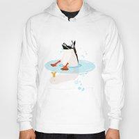 duck Hoodies featuring Duck by Dogfrogduckbird